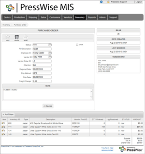 Print Inventory Purchase Order PressWise
